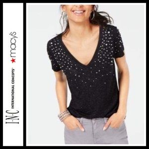 INC International Concepts Embellished V-Neck Tee